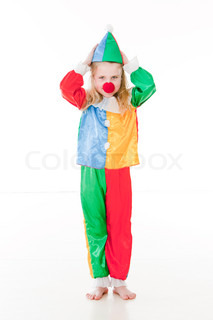 Caucasian girl in clown costume