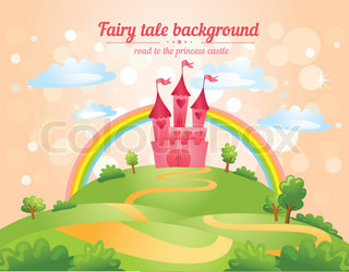 FairyTale landscape, the road leading to the castle. Vector illustration