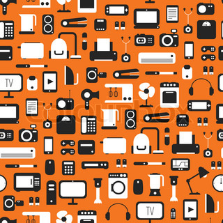 Seamless pattern of electronic devices and home appliances colorful icons set in flat style. Template vector elements for web and mobile applications.