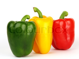 Sweet pepper, green yellow and red in a line