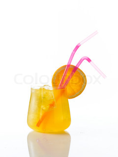 Beverage - cold orange soda on a glass