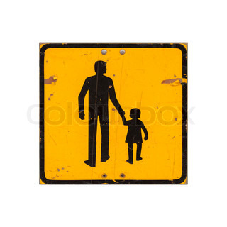 Yellow children warning road sign isolated on white