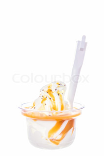 soft vanilla ice cream with caramel topping and chocolate chips