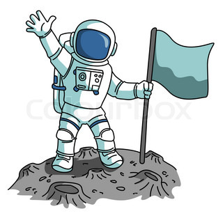 cartoon astronaut with blank flag vector clip art illustration with simple gradients all in a Alien Spaceship Drawing alien spaceship clipart