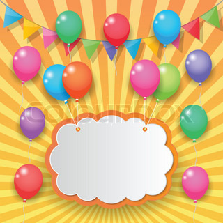 Balloons cloud bunting and garland decoration on sunny sky for Balloon cloud decoration