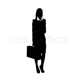 Business woman black silhouette hold briefcase standing ...