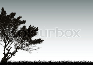 Tree silhouette and grass. Vector background