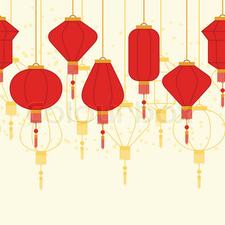 chinese new year seamless pattern with lanterns - Chinese New Year Lantern