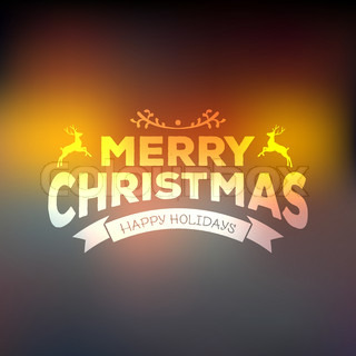 Christmas calligraphy on blured background