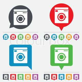 Washing machine icon home appliances symbol speech bubbles information icons 24 colored - Interesting facts about washing machines ...