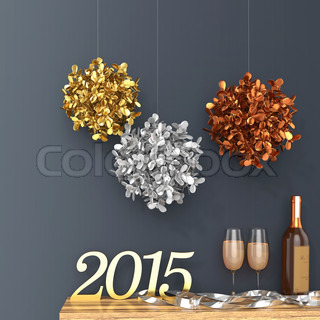 3d new Year 2015 with decorations and champagne glasses
