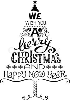 Merry Christmas handwritten lettering on bright red background