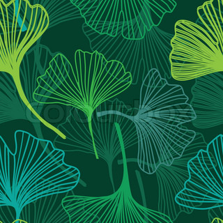 Seamless decorative flower background with ginkgo biloba