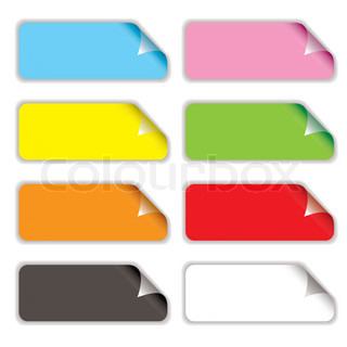 Collection of eight oblong stickers with page curl in different colours
