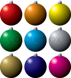 colorful collection of christmas decorations in nine different colors