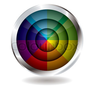 Rainbow divided button with silver bevel and drop shadow