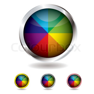 Brightly colored beach ball button with metal bevel and shadow