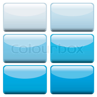 Collection of six lozenge shaped web buttons with blue hues
