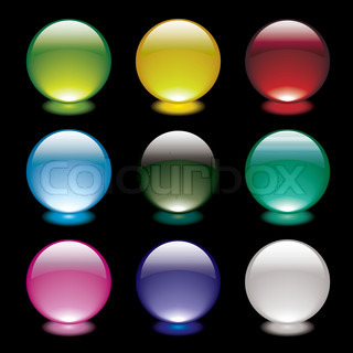 Colourful bright gel filled icon buttons on black background