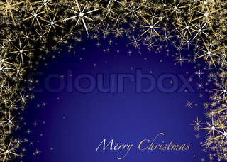 Abstract golden star christmas background with copyspace in blue