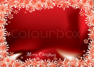 Bright red christmas background with snow flake and copy space