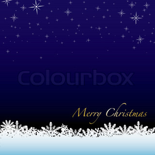 Christmas winter scene with snow drift and starry night sky