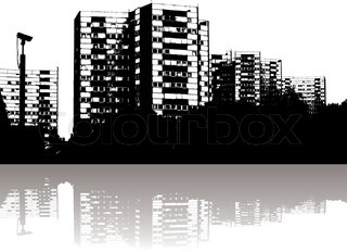 Illustration of a city skyline with reflection in black and white