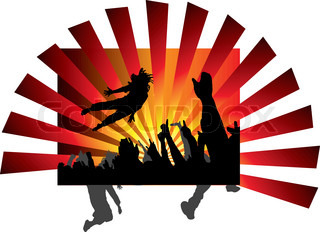 A person jumping at a concert with a abstract background