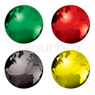 Collection of four globes with colour variation and reflection