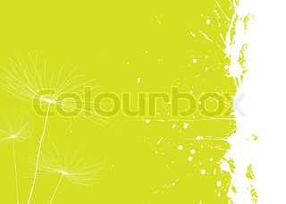 Green and white dandelion background with copyspace