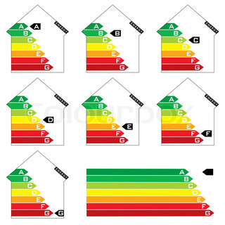 Collection of seven house energy rating graphs with arrows
