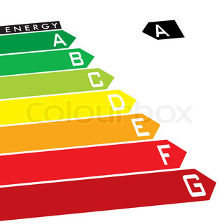 Energy rating system with multi coloured arrows at an angle