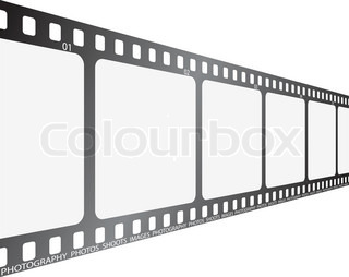 A section of film looking along its length