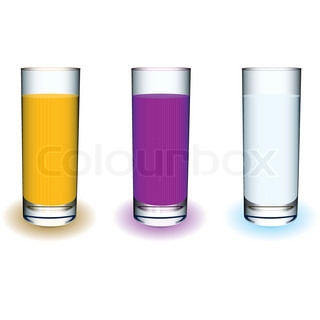 Three tall glass drinks filled with fresh fruit juice