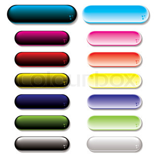 Collection of colorful gel filled buttons with shadow effect