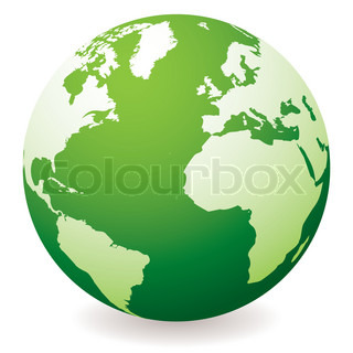 green planet earth showing a green globe with drop shadow