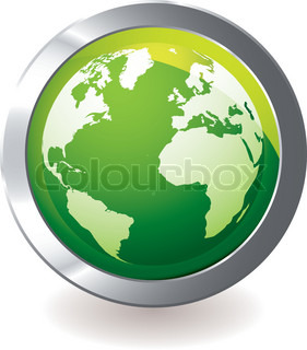 Green earth globe icon with silver metal bevel and shadow ...