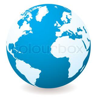Blauer illustrierter Globus mit Schatten und weißen Land und Meer