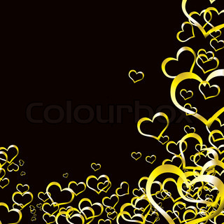 Black and gold love heart background ideal for valentines day