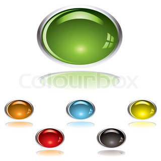 Lozenge shape gel icon with shadow and reflection with color variation