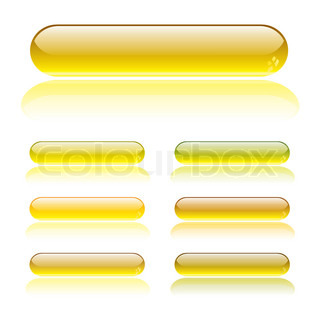 seven gel filled lozenge buttons with light reflection