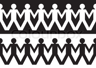 String of paper chain men in black and white ideal border holding hands