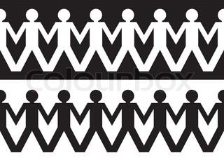 Zeichenfolge Papier Kette Männer in schwarzen und weißen ideal kombinierbar, die Hand in Hand