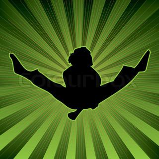 farbigen Hintergrund mit einer Jugendlichen Person einen Karate-Sprung an der Spitze zu tun
