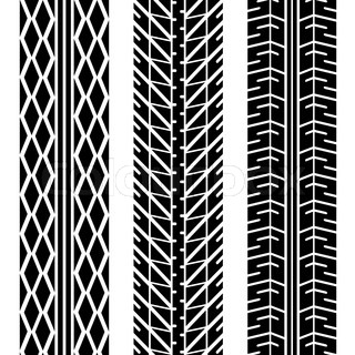 three different tire tread patterns in black and white vector colourbox. Black Bedroom Furniture Sets. Home Design Ideas