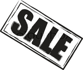 A sale stamp in black and white oblong shape