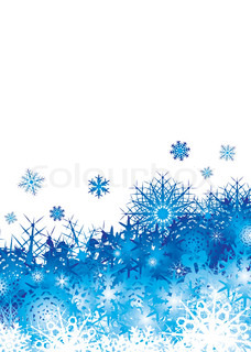 christmas background image with blue snowflakes and copyspace