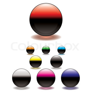 Colorful gel filled icon button with glowing ring shadow