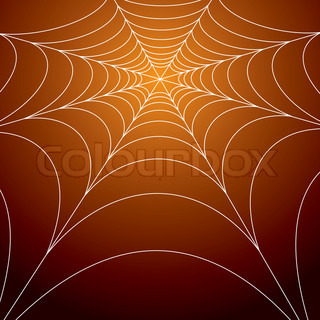 spiders web on a bright orange spooky background