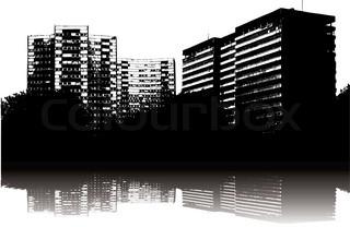 Beispiel für ein städtisches Motiv in schwarz und weiß mit vertikalen Wohn-